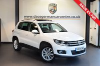 USED 2014 14 VOLKSWAGEN TIGUAN 2.0 MATCH TDI BLUEMOTION TECH 4MOTION DSG 5d AUTO 139 BHP * WAS £12,670 SAVE £1,700 * PURE WHITE WITH GREY CLOTH UPHOLSTERY + FULL VW SERVICE HISTORY + SATELLITE NAVIGATION + BLUETOOTH + FULL PANORAMIC ROOF + HEATED SEATS + PARKING SENSORS + HEATED MIRRORS + 18 INCH ALLOY WHEELS