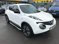 USED 2013 63 NISSAN JUKE 1.6 N-TEC 5d 115 BHP IN WHITE WITH ONLY 33000 MILES WITH ALLOYS,SAT NAV,REAR CAMERA AND MUCH MORE. APPROVED CARS ARE PLEASED TO OFFER THIS NISSAN JUKE 1.6 N-TEC 5d 115 BHP IN WHITE WITH ONLY 33000 MILES WITH ALLOYS,SIDE STEPS,REAR CAMERA,SAT NAV,UPGRADED ALLOYS AND EXHAUST,BLUETOOTH,FRONT AND REAR SENSORS AND MUCH MORE WITH A FULL SERVICE HISTORY SERVICED AT 9K,18K,23K AND 29K ALL ARE NISSAN MAIN DEALER A GREAT LOOKING AND DRIVING JUKE AT VERY SENSIBLE MONEY.