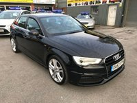 2014 AUDI A3 2.0 TDI S LINE 5 DOOR 148 BHP IN BLACK IN IMMACULATE CONDITION. £10799.00