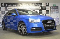 USED 2013 13 AUDI A3 2.0 TDI S LINE 3d 148 BHP ONE FORMER KEEPER with FULL SERVICE HISTORY & 12 MONTHS MOT, BEAUTIFULLY PRESENTED IN THE AUDI EXCLUSIVE UPGRADED SPRINT BLUE METALLIC THIS CAR HAS £OVER £4000 OF EXTRAS inc BANG & OLUFSEN SOUND SYSTEM, ELECTRIC FOLDING MIRRORS & PANORAMIC ROOF