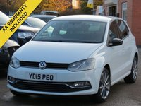 USED 2015 15 VOLKSWAGEN POLO 1.2 SE DESIGN TSI 5d 90 BHP 3 MONTHS AA WARRANTY INCLUDED, FULL SERVICE HISTORY