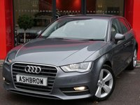 USED 2015 65 AUDI A3 SPORTBACK 2.0 TDI SPORT 5d 150 S/S UPGRADE PARKING SYSTEM REAR, £20 TAX, 1 OWNER FROM NEW, AUDI SERVICE HISTORY, DAB RADIO, BLUETOOTH PHONE & MUSIC STREAMING, AUDI MUSIC INTERFACE FOR IPOD / USB DEVICES (AMI), 17 IN 5 SPOKE ALLOYS, FRONT FOGS, HEADLAMP WASHERS, GREY CLOTH INTERIOR, SPORT SEATS, LEATHER MULTI FUNCTION STEERING WHEEL, DUAL ZONE CLIMATE A/C, FRONT ARM REST, AUDI DRIVE SELECT, CD HIFI WITH 2x SD CARD READERS, ELECTRIC WINDOWS, ELECTRIC HEATED MIRRORS, ISO FIX, FOLDING REAR SEATS, VAT QUALIFYING.