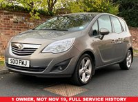 USED 2013 13 VAUXHALL MERIVA 1.4 TECH LINE 5d 99 BHP 1 OWNER, FULL SERVICE HISTORY, MOT NOV 19, FULLY PREPARED, EXCELLENT CONDITION,  ALLOYS, CRUISE, CLIMATE, E/WINDOWS, R/LOCKING, FREE  WARRANTY, FINANCE AVAILABLE, HPI CLEAR, PART EXCHANGE WELCOME,