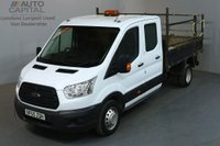 USED 2015 65 FORD TRANSIT 2.2 350 L3 D/CAB 124 BHP LWB 3 SEATER TIPPER BED LENGTH 9 FOOT & 4 INCHES