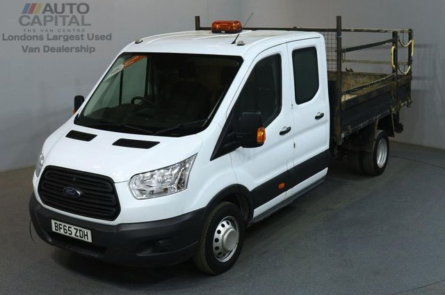2015 65 FORD TRANSIT 2.2 350 L3 D/CAB 124 BHP LWB 3 SEATER TIPPER BED LENGTH 9 FOOT & 4 INCHES