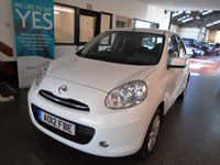USED 2012 12 NISSAN MICRA 1.2 ACENTA 5d 79 BHP Three owners, service history, May 2019 Mot. Finished in Cloud White with Black cloth seats.