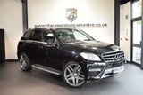 USED 2013 13 MERCEDES-BENZ M CLASS 2.1 ML250 BLUETEC AMG SPORT 5DR AUTO 204 BHP OBSIDIAN BLACK WITH HALF BLACK LEATHER INTERIOR + FULL SERVICE HISTORY + SATELLITE NAVIGATION + BLUETOOTH + CRUISE CONTROL + ACTIVE PARK ASSIST + 19 INCH ALLOY WHEELS