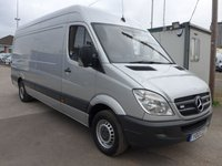 2013 MERCEDES-BENZ SPRINTER 313 CDI LWB HI ROOF, 130 BHP [EURO 5], AIR CON, 1 COMPANY OWNER £10495.00
