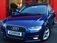 USED 2015 65 AUDI A4 2.0 TDI ULTRA SE TECHNIK 4d 163 S/S UPGRADE HEATED FRONT SEATS, HDD SAT NAV WITH JUKEBOX & DVD PLAYBACK, FULL LEATHER INTERIOR, DAB RADIO, WIRELESS LAN CONNECTION (WLAN), BLUETOOTH MOBILE PHONE PREP WITH MUSIC STREAMING, AUDI MUSIC INTERFACE, FRONT & REAR PARKING SENSORS WITH DISPLAY, FRONT FOG LIGHTS, 17 INCH 5 SPOKE ALLOYS, LEATHER MULTI FUNCTION STEERING WHEEL, CRUISE CONTROL, LIGHT & RAIN SENSORS WITH AUTO DIMMING REAR VIEW MIRROR, DUAL CLIMATE AIR CON, DIS TRIP COMPUTER, 1 OWNER FROM NEW, FULL SERVICE HISTORY, £20 ROAD TAX