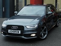 USED 2014 64 AUDI A4 AVANT 2.0 TDI S LINE BLACK EDITION 5d 177 S/S £2380 OF OPTIONAL EXTRAS, UPGRADE TECHNOLOGY PACK INCLUDING MMI NAVIGATION PLUS DVD PLAYER VOICE DIALOGUE SYSTEM & AUDI MUSIC INTERFACE (AMI) FOR IPOD / USB DEVICES, UPGRADE PARKING SYSTEM PLUS FRONT & REAR WITH DISPLAY, BANG & OLUFSEN SOUND SYSTEM, CRUISE CONTROL, DAB RADIO, POWER TAILGATE, BLUETOOTH PHONE & MUSIC STREAMING, WIRELESS LAN, LED XENON LIGHTS, 19 INCH ROTOR WHEELS, PRIVACY GLASS, BLACK 1/2 LEATHER INTERIOR, LEATHER FLAT BOTTOM MULTI FUNCTION STEERING WHEEL, 1 OWNER, SERVICE HISTORY