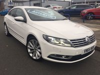 USED 2014 64 VOLKSWAGEN CC 2.0 GT TDI BLUEMOTION TECHNOLOGY DSG 4d AUTO 138 BHP SAT NAV+FSH+HEATED SEATS+PRIVACY GLASS+REVERSE PARKING SENSORS