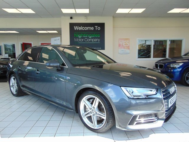 USED 2015 65 AUDI A4 2.0 TDI S LINE 4d AUTO 188 BHP ONLY £20 ROAD TAX +FULL LEATHER + SATELLITE NAVIGATION + BLUETOOTH + ALLOYS + FULL SERVICE HISTORY + LONG MOT + ELECTRIC FOLDING MIRRORS +PRIVACY GLASS + CRUISE CONTROL + CLIMATE CONTROL