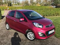 USED 2013 13 KIA PICANTO 1.2 2 5d AUTO 84 BHP Full KIA History MOT 11/19 RARE COLOUR Full KIa Main Dealer Service History - 5 Services, MOT 11/19, Kia Dealership Warranty Untill 06/2020, RARE Colour Fuscia Blush, Only One Lady Owner, Bluetooth Handsfree, Voice Command, Front And Rear Elec Windows, Elec Mirrors, Power Fold Mirrors, Alloys, Full Carpet Mat Set, X2 Keys, Cd/Stereo/USB/Aux In Sockets, Aircon, Leather Multifunctional Steering Wheel, Full onboard Trip Computer, Very Very Clean And Tidy Much Loved Example, Drives And Looks Perfectly, You Will Not Dissapointed!!!