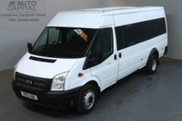 USED 2012 12 FORD TRANSIT 2.2 430 BUS 17 STR 134 BHP EXTRA LWB M/ROOF TWIN WHEEL MINIBUS ONE OWNER FULL S/H SPARE KEY