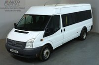USED 2012 12 FORD TRANSIT 2.2 430 17 STR 134 BHP TWIN WHEEL EXTRA LWB M/ROOF MINIBUS ONE OWNER FULL S/H SPARE KEY