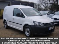 USED 2014 64 VOLKSWAGEN CADDY 1.6 TDI 101 BHP C20 Startline Bluemotion Technology Van In White With Side Loading Door