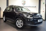 USED 2014 14 VOLKSWAGEN TIGUAN 2.0 S TDI BLUEMOTION TECHNOLOGY 5DR 138 BHP BLACK WITH GREY CLOTH UPHOLSTERY + EXCELLENT SERVICE HISTORY + 1 OWNER FROM NEW + PARROT BLUETOOTH KIT + AUXILIARY PORT + HEATED MIRRORS + PARKING SENSORS + 16 INCH ALLOY WHEELS