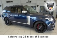 USED 2013 13 LAND ROVER RANGE ROVER 4.4 SDV8 AUTOBIOGRAPHY 5d 339 BHP full land rover service history FINISHED IN STUNNING BALTIC BLUE WITH FULL ALMONF LEATHER SEATS + STUNNING SVO UPGRADE + FULL LAND ROVER SERVICE HISTORY + SATELLITE NAVIGATION + REAR ENTERTAINMENT + 22 INCH ALLOYS + 360 DEGREE REVERSE CAMERA + REAR EXECTUTIVE CLASS SEATS + HEATED FRONT/REAR SEATS + PANORAMIC ROOF + RETRACTABLE SIDE STEPS + HEATED STEERING WHEEL + SVO STYLING PACK + FOUR WHEEL DRIVE + BLUETOOTH + DAB RADIO + CRUISE CONTROL + OVER £16000 WORTH OF EXTRAS