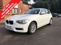 USED 2013 63 BMW 1 SERIES 1.6 116I SE 5d 135 BHP AUTO SAT NAV HEATED SEATS Stunning BMW 1 Series AUTO, with SAT NAV,  Front and Rear Parking Sensors,  Heated Seats, Sports and Eco Driving Modes, Auto Headlights, Bluetooth, Air Conditioning, USB/AUX, Leather Multi Functional Steering Wheel, just two previous owners and comes with full BMW Service History having been serviced in October 2015 at 11,573 miles, October 2016 at 19,208 miles, October 2017 at 28,839 and an MOT until 6th November 2019. nationwide Delivery Available. Finance Available at 9.9% APR representative.