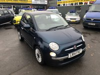 2014 FIAT 500 0.9 LOUNGE DUALOGIC 3 DOOR AUTOMATIC 85 BHP IN METALLIC BLUE WITH ONLY 21500 MILES £7299.00