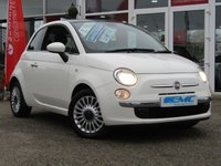 USED 2012 62 FIAT 500 1.2 LOUNGE 3d 69 BHP STUNNING Low Mileage, FIAT 500 1.2 SPECIAL EDITION LOUNGE. Finished in BOSSA NOVA White with contrasting grey cloth trim. This updated small retro-style car is ideal for the first time driver and small family. Features include Alloy wheels, Panoramic Sun Roof, Air Con, £20 Road Tax, 2 Keys to name just a few. Dealer serviced at 5886 miles, 15161 miles, 26416 miles, 41792 miles and at 49792 miles on 5/9/2018. MOT due on 29/09/2019.