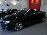USED 2015 65 AUDI A3 CABRIOLET 2.0 TDI S LINE 2d 150 S/S £20 TAX, 1 OWNER, FULL AUDI HIST, UPGRADE SAT NAV, U/G CRUISE CONTROL, U/G PARKING SYSTEM REAR, U/G ELECTRIC POWER FOLDING HEATED DOOR MIRRORS, U/G COMFORT PACKAGE, BLUETOOTH W/ AUDIO STREAMING, DAB, LEATHER FLAT BOTTOM MULTI FUNCTION STEERING WHEEL, AUDI MUSIC INTERFACE, BI XENONS W/ LED DRL, BLACK 1/2 LEATHER, DUAL ZONE CLIMATE A/C, AUDI DRIVE SELECT, SD X2, AUTO LIGHTS + WIPERS, AUTO DIM REAR VIEW, COLOUR DIS W/ DIGI SPEED DISPLAY, TYRE PRESSURE MONITORING, SP SAVER SPARE, VAT QUALIFYING.