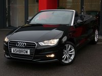 USED 2015 15 AUDI A3 CABRIOLET 1.6 TDI SE 2d 110 S/S £20 TAX, FULL SERVICE HISTORY, UPGRADE 17 IN 10 SPOKE DYNAMIC ALLOY WHEELS, DAB DIGITAL RADIO, BLUETOOTH W/ AUDIO STREAMING, AUDI MUSIC INTERFACE, SD READER X2, TYRE PRESSURE MONITORING SYSTEM, AUTO LIGHTS + WIPERS, HALOGEN DRLS, BLACK SOFT TOP ROOF, FRONT FOG LIGHTS, ELECTRIC WINDOWS, ELECTRICALLY ADJUSTABLE HEATED DOOR MIRRORS, DRIVER'S INFORMATION SCREEN W/ DIGITAL SPEED DISPLAY, A/C, SPACE SAVER SPARE WHEEL, VAT Q.