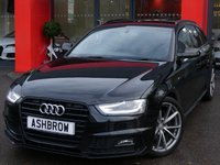 USED 2015 65 AUDI A4 AVANT 2.0 TDI S LINE BLACK EDITION NAV 5d AUTO 150 S/S FACELIFT MODEL WITH NEWER STYLE WHEELS & FRONT BUMPER, UPGRADE BODY COLOURED EXTERIOR MIRRORS, UPGRADE DE-BADGE FEATURE, MMI NAVIGATION PLUS WITH DVD PLAYBACK & JUKEBOX, AUDI MUSIC INTERFACE (AMI), FRONT & REAR PARKING SYSTEM WITH DISPLAY, BANG & OLUFSEN SOUND SYSTEM, CRUISE CONTROL, DAB RADIO, POWER TAILGATE, BLUETOOTH PHONE & MUSIC STREAMING, WIRELESS LAN CONNECTION, LED XENON LIGHTS, 19 INCH 10 SPOKE ALLOYS, LEATHER FLAT BOTTOM TIPTRONIC STEERING WHEEL,  1 OWNER, FULL SERVICE HISTORY