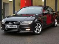 USED 2015 65 AUDI A4 2.0 TDI ULTRA SE TECHNIK 4d 163 S/S UPGRADE HEATED FRONT SEATS, HDD SAT NAV WITH JUKEBOX & DVD PLAYBACK (MMI NAVIGATION PLUS), FULL LEATHER INTERIOR, DAB RADIO, WIRELESS LAN CONNECTION (WLAN), BLUETOOTH MOBILE PHONE PREP WITH MUSIC STREAMING, AUDI MUSIC INTERFACE (AMI),  FRONT & REAR PARKING SENSORS WITH DISPLAY, FRONT FOG LIGHTS, 17 INCH 5 SPOKE ALLOYS, LEATHER MULTI FUNCTION STEERING WHEEL, CRUISE CONTROL, LIGHT & RAIN SENSORS WITH AUTO DIMMING REAR VIEW MIRROR, 1 OWNER FROM NEW, FULL SERVICE HISTORY, £20 ROAD TAX, VAT Q
