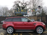 "USED 2014 14 LAND ROVER RANGE ROVER SPORT 5.0 V8 AUTOBIOGRAPHY DYNAMIC 5d AUTO 510 BHP STUNNING FIRENZE RED METALLIC WITH IVORY AUTOBIOGRAPHY OXFORD PERFORATED LEATHER UPHOLSTERY. ONLY TWO OWNERS FROM NEW. SERVICE HISTORY. MERIDIAN 1700w SOUND SYSTEM COSTING £4140. PANORAMIC GLASS ROOF. SURROUND CAMERA SYSTEM. ADAPTIVE XENON HEADLAMPS. ELECTRIC DEPLOYABLE TOWBAR. PRIVACY GLASS. 21"" ALLOY WHEELS. HDD PREMIUM SATELLITE NAVIGATION. CLIMATE CONTROL. THIS IS THE CHEAPEST LIKE FOR LIKE ON AUTOTRADER. PLEASE GOTO www.lowcostmotorcompany.co.uk TO VIEW OVER 120 CARS IN STOCK."