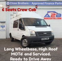 2012 FORD TRANSIT 2.2 TDCi 125bhp 350 Long Wheel Base High Roof Crew Van (6 Seats) Aux, Heated Screen, Electric Windows, Ply-Lined, Roof Bars £6980.00
