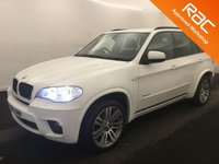 USED 2010 60 BMW X5 3.0 XDRIVE30D M SPORT 5d AUTO 241 BHP A REAL EXAMPLE OF A STUNNING AND VERY WELL LOOKED AFTER 4X4 VEHICLE , FINISHED IN GLEAMING WHITE WITH M SPORT KIT AND CONTRASTING BLACK HEATED LEATHER , SEVEN SEATS PIANO BLACK INSERTS, FRONT SPOT LIGHTS, CONNECTION DRIVE, 19INCH UPGRADED ALLOYS, CRUSE CONTROL, BIG SCREEN SAT NAV, , PADDLE SHIFT AUTO GEAR BOX, VOICE COMMAND,, AUX USB LEAD, AUTO HEAD LAMPS, ELEC STEERING COLUMN