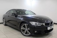 USED 2014 14 BMW 4 SERIES 2.0 420I M SPORT 2DR 181 BHP HEATED LEATHER SEATS + SATELLITE NAVIGATION + PARKING SENSOR + BLUETOOTH + CRUISE CONTROL + CLIMATE CONTROL + MULTI FUNCTION WHEEL + DAB RADIO + 19 INCH ALLOY WHEELS