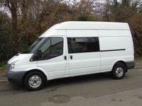 2012 FORD TRANSIT 350 LWB T350 2.2TDCI 100BHP 9 SEATER CREW/ PANEL VAN (EX MOD) £7950.00