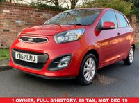 USED 2013 62 KIA PICANTO 1.2 2 ECODYNAMICS 5d 84 BHP 1 OWNER, FULL SERVICE HISTORY, 1YR MOT, £0 ROAD TAX, EXCELLENT CONDITION,  ALLOYS, AIR CON, E/WINDOWS, R/LOCKING, FREE  WARRANTY, FINANCE AVAILABLE, HPI CLEAR, PART EXCHANGE WELCOME,