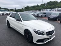 USED 2016 66 MERCEDES-BENZ C CLASS 4.0 AMG C 63 S PREMIUM 4d 503 BHP Premium Plus & Night Packages, 19 inch Matt Black alloys, Metallic White