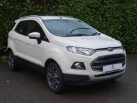 "USED 2015 64 FORD ECOSPORT 1.0 TITANIUM X-PACK 5d 124 BHP Full Black Leather Trim, Main Dealer Service History, Low Mileage, Low Insurance Group, 17"" Graphite Grey Alloy Wheels, Rear Parking Sensors, Bluetooth, Climate Control, Tinted Glass, Excellent Fuel Economy, Air Conditioning, Front + Rear Fog Lights, Auto Lights, AUX, USB, Voice Command, Spare Key, Drive Away In Under 1 Hour"
