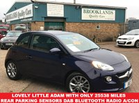 USED 2015 15 VAUXHALL ADAM 1.2 JAM Pump Up The Blue Metallic 69 BHP Lovely Little Adam with only 25538 Miles Rear Parking Sensors DAB Bluetooth Radio Air Con