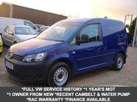 USED 2014 14 VOLKSWAGEN CADDY 1.6 TDI C20 Plus Startline Van In Blue With Side Loading Door