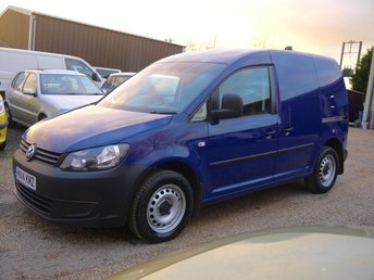 2014 VOLKSWAGEN CADDY 1.6 TDI C20 PLUS STARTLINE VAN IN BLUE WITH SIDE LOADING DOOR £4995.00