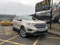 USED 2017 67 FORD EDGE 2.0 TITANIUM TDCI 5d 177 BHP STUNNING METALLIC WHITE GOLD PAINT WORK, LEATHER, ELECTRIC, HEATED COOLED SEATS, GLASS PANORAMIC SUNROOF, SAT NAV, ALLOYS, REVERSE CAMERA, POWER TAILGATE, FRONT AND REAR PDC, 1 OWNER, LOW MILEAGE, MASSIVE SPEC 4X4