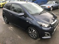 2016 PEUGEOT 108 1.2 PURETECH ALLURE 3 DOOR 82 BHP IN METALLIC BLUE WITH ONLY 14000 MILES AND A REVERSE CAMERA. £6399.00