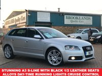 USED 2012 62 AUDI A3 2.0 SPORTBACK TDI S LINE 5 Door Ice Silver Met. 138 BHP £30 road tax  A Stunning A3 S-Line With Black 1/2 Leather Seats Air Con Alloy Wheels  Day-Time Running Lights Cruise Control