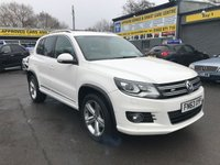 2013 VOLKSWAGEN TIGUAN 2.0 R LINE TDI BLUEMOTION TECHNOLOGY 4MOTION 5 DOOR 139 BHP IN WHITE WITH ONLY 52000 MILES. £12999.00