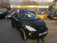 USED 2016 16 FORD KA 1.2 ZETEC BLACK EDITION 3d 69 BHP IN BLACK WITH A GREAT SPEC AND A VERY LOW MILEAGE. APPROVED CARS ARE PLEASED TO OFFER THIS FORD KA 1.2 ZETEC BLACK EDITION 3 DOOR 69 BHP IN BLACK WITH A GREAT SPEC AND ONLY 9000 MILES IN IMMACULATE CONDITION SEE PICTURES WITH A GREAT SPEC INCLUDING BLUETOOTH,AIR CON,16 INCH BLACK ALLOYS A GREAT LOOKING CAR WITH SUPER LOW MILEAGE  AND IDEAL FIRST CAR WITH FULL SERVICE HISTORY.