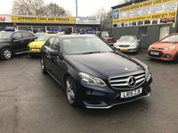 2015 MERCEDES-BENZ E CLASS 2.1 E220 BLUETEC AMG LINE 4 DOOR AUTO 174 BHP IN METALLIC BLUE WITH BLACK LEATHER INTERIOR AND ONLY 28000 MILES. £15499.00