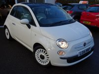 USED 2014 14 FIAT 500 0.9 TWINAIR LOUNGE 3d 85 BHP Low Mileage! Full Service History + Serviced by ourselves, One Owner from new, MOT until June 2019, Excellent fuel economy! ZERO Road tax!