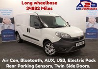 2015 FIAT DOBLO 1.6 16V MULTIJET 105 BHP, Long Wheel Base, Low Mileage 34,882 Miles, Air Con, Bluetooth, Rear Parking Sensors. F.S.H £6480.00