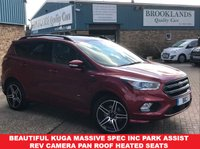 USED 2016 66 FORD KUGA 1.5 ST-LINE Ruby Red Met. Powershift 180 BHP Beautiful Kuga with massive Spec inc Park Assist Rev Camera Pan Roof Heated Seats &Steering Wheel