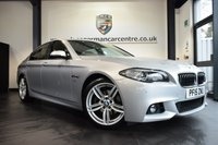 USED 2015 15 BMW 5 SERIES 2.0 520D M SPORT 4DR AUTO 188 BHP full bmw service history GLACIER METALLIC SILVER WITH FULL BLACK LEATHER INTERIOR + FULL BMW SERVICE HISTORY + PRO SATELLITE NAVIGATION + BLUETOOTH + HEATED SPORT SEATS + HARMAN/KARDON SPEAKERS + DAB RADIO + CRUISE CONTROL + PARKING SENSORS + 19 INCH ALLOY WHEELS